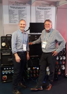 White Light's Dave Isherwood seals the deal with Data Strategy Limited's Iain Roche at ProLight+Sound